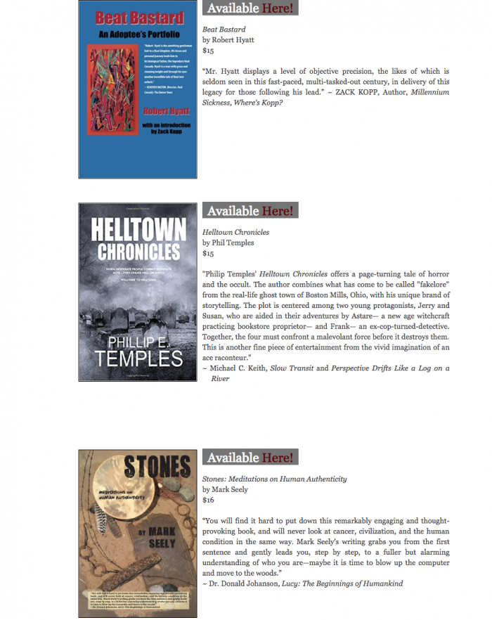Big Table Publishing listing of Helltown Chronicles