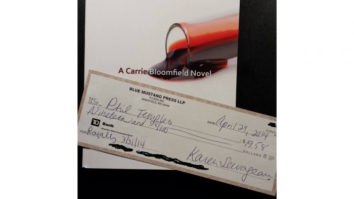 Winship Affair royalty check from Blue Mustang Press
