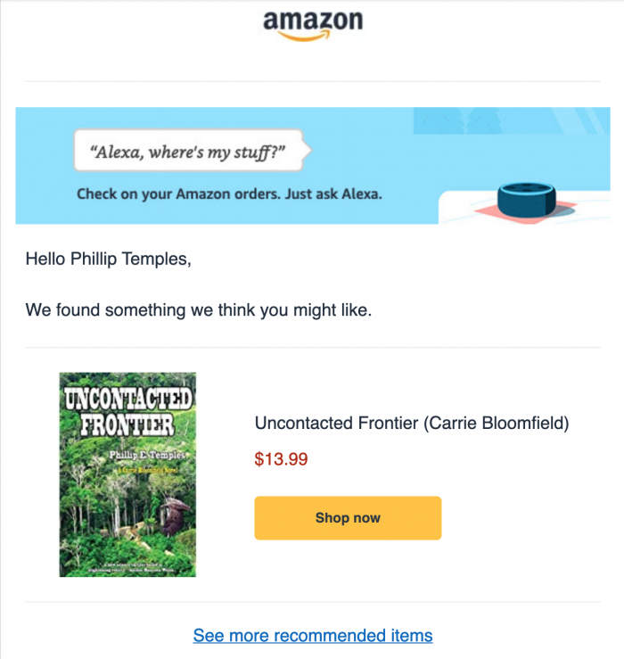 "amazon advert for ""Uncontacted Frontier"""