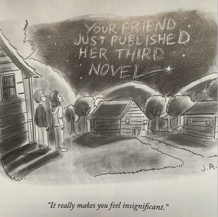 Cartoon where friend has three published novels written across the sky
