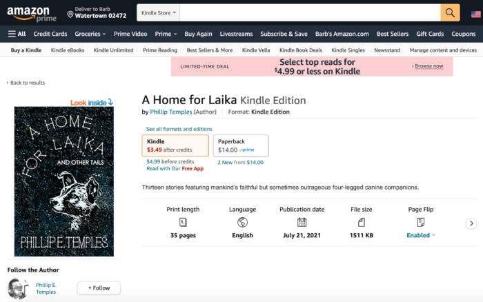 """Amazon screen shot of """"A Home for Laika"""""""